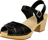 Swedish Hasbeens - Peep Toe High Black/Nature Sole