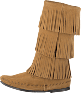 Minnetonka - 3-Layer Fringe Boot Taupe Suede