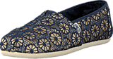 Toms - Wm Seasonal Classic Gold Navy crochet glitter